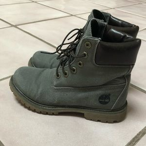 Timberland gray canvas boots (women's 6.5)